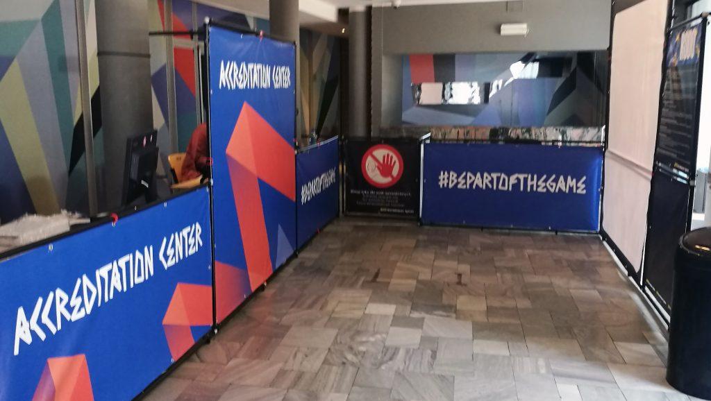 Zabudowa Biura Akredytacji VNL Spodek Katowice 2019